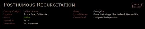 Fiche du groupe Posthumous Regurgitation sur le site metal-archives