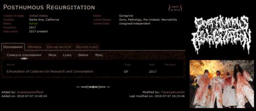 Fiche complète du groupe Posthumous Regurgitation sur metal-archives