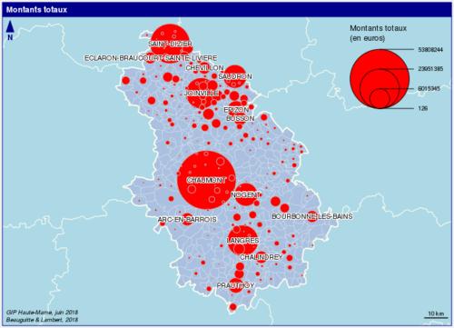 Montant versé par le GIP aux communes de Haute-Marne 212-2017