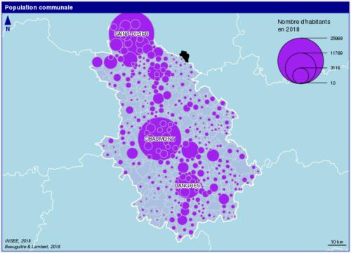 population par communes en Haute-Marne, source INSEE 2018
